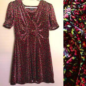 Velvet Floral Puffed-Sleeves Mini Dress